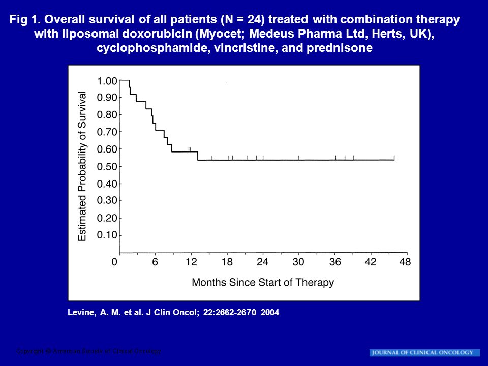 Fig 1. Overall survival of all patients (N = 24) treated with combination therapy with liposomal doxorubicin (Myocet; Medeus Pharma Ltd, Herts, UK), cyclophosphamide, vincristine, and prednisone