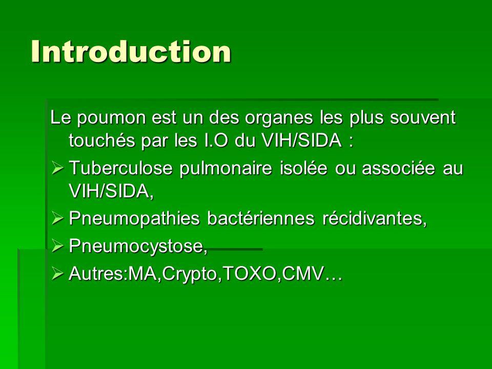 Introduction Le poumon est un des organes les plus souvent touchés par les I.O du VIH/SIDA : Tuberculose pulmonaire isolée ou associée au VIH/SIDA,
