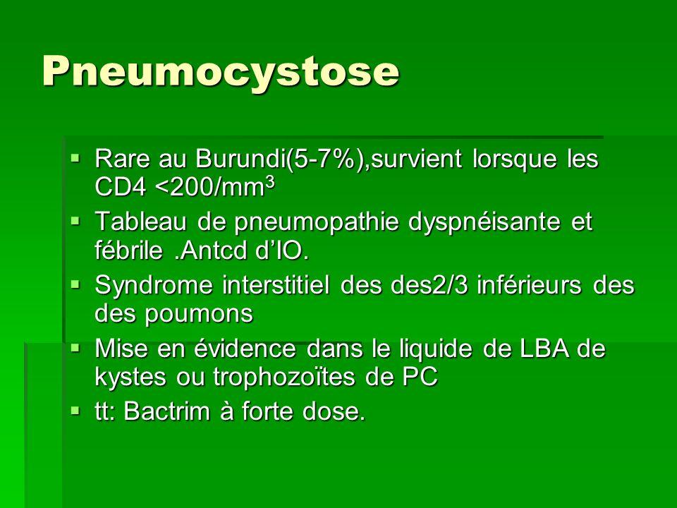 Pneumocystose Rare au Burundi(5-7%),survient lorsque les CD4 <200/mm3. Tableau de pneumopathie dyspnéisante et fébrile .Antcd d'IO.