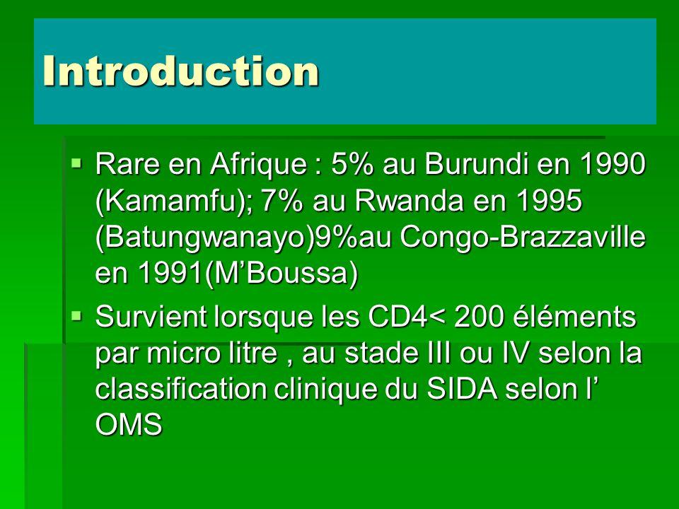 Introduction Rare en Afrique : 5% au Burundi en 1990 (Kamamfu); 7% au Rwanda en 1995 (Batungwanayo)9%au Congo-Brazzaville en 1991(M'Boussa)