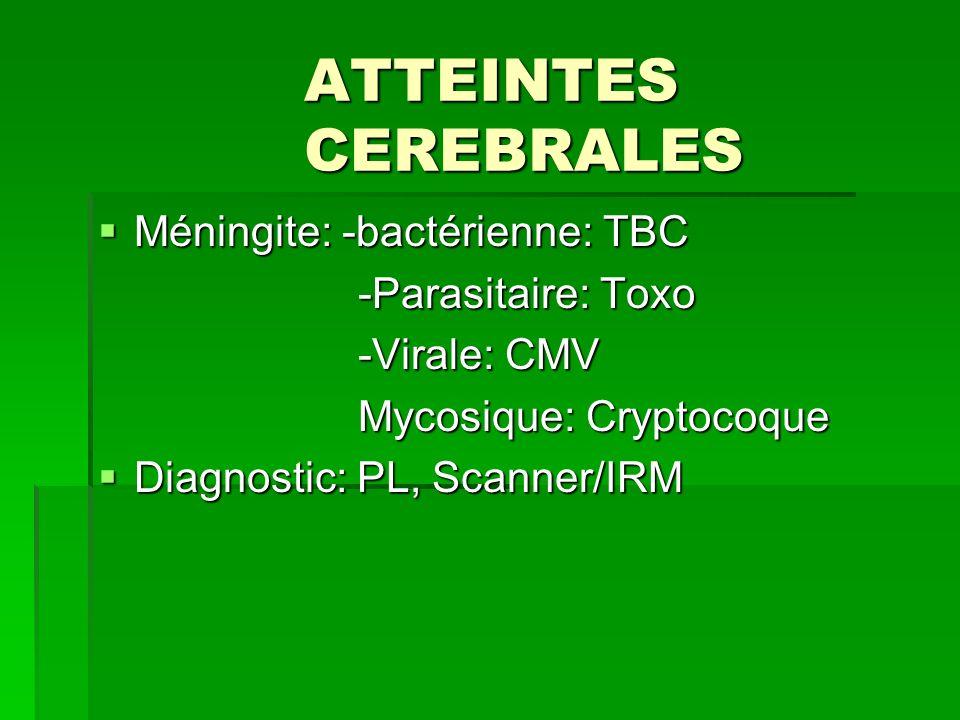ATTEINTES CEREBRALES Méningite: -bactérienne: TBC -Parasitaire: Toxo