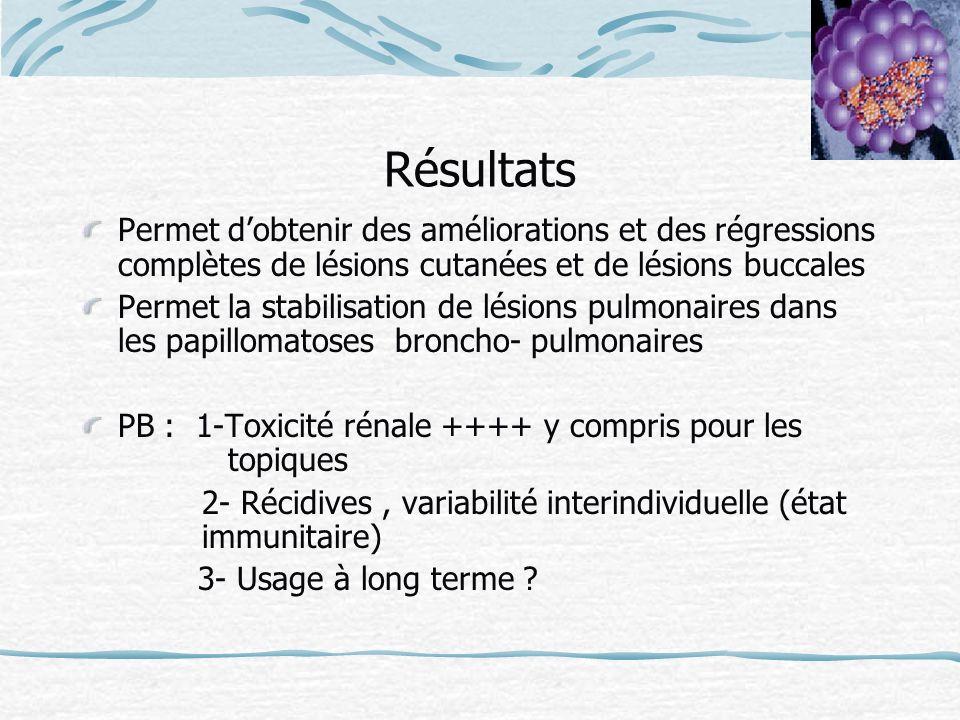 RésultatsPermet d'obtenir des améliorations et des régressions complètes de lésions cutanées et de lésions buccales.