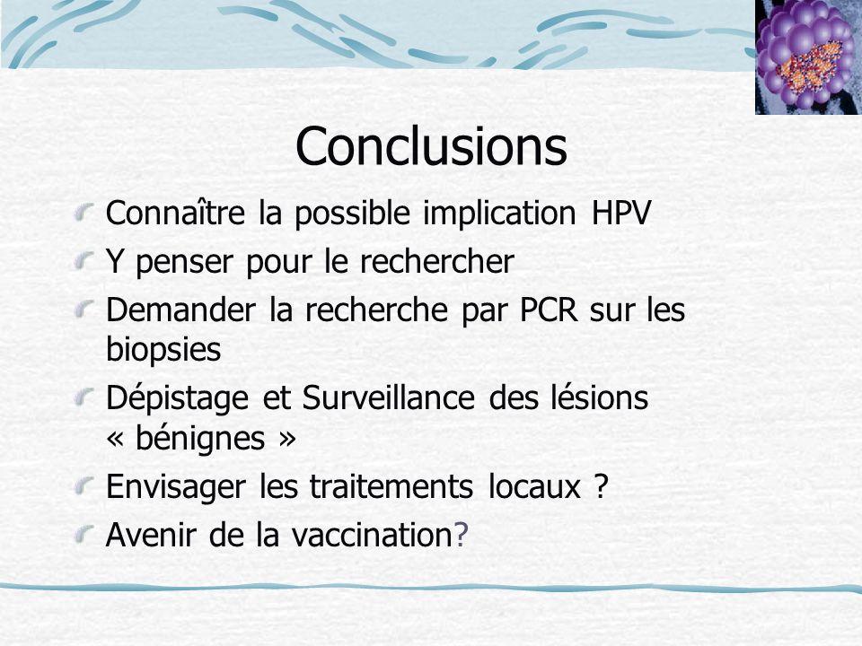 Conclusions Connaître la possible implication HPV