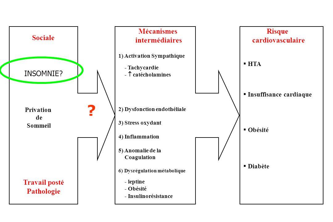 Mécanismes intermédiaires Risque cardiovasculaire Sociale INSOMNIE