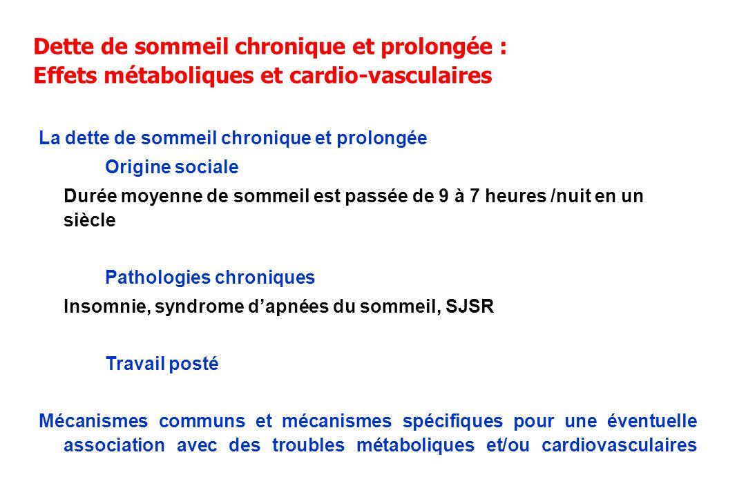 Dette de sommeil chronique et prolongée : Effets métaboliques et cardio-vasculaires