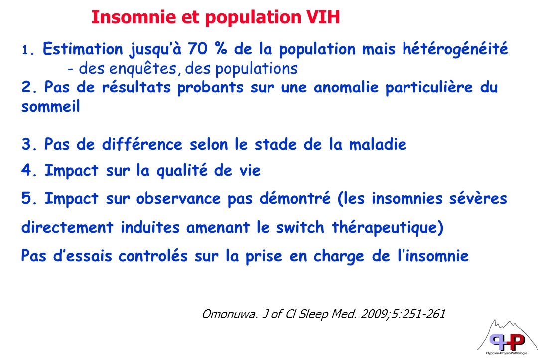 Insomnie et population VIH