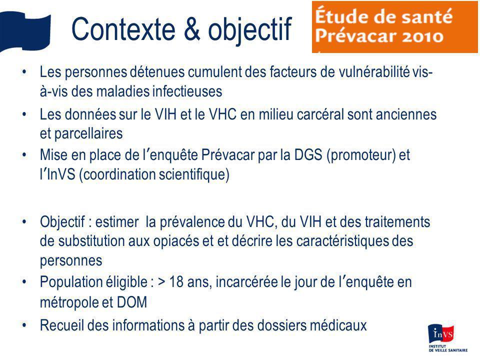 Contexte & objectif Les personnes détenues cumulent des facteurs de vulnérabilité vis-à-vis des maladies infectieuses.