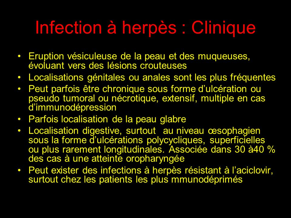 Infection à herpès : Clinique