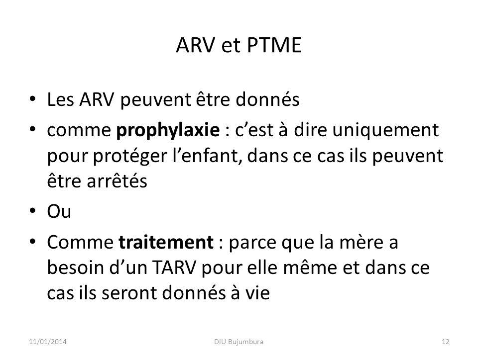 ARV et PTME Les ARV peuvent être donnés