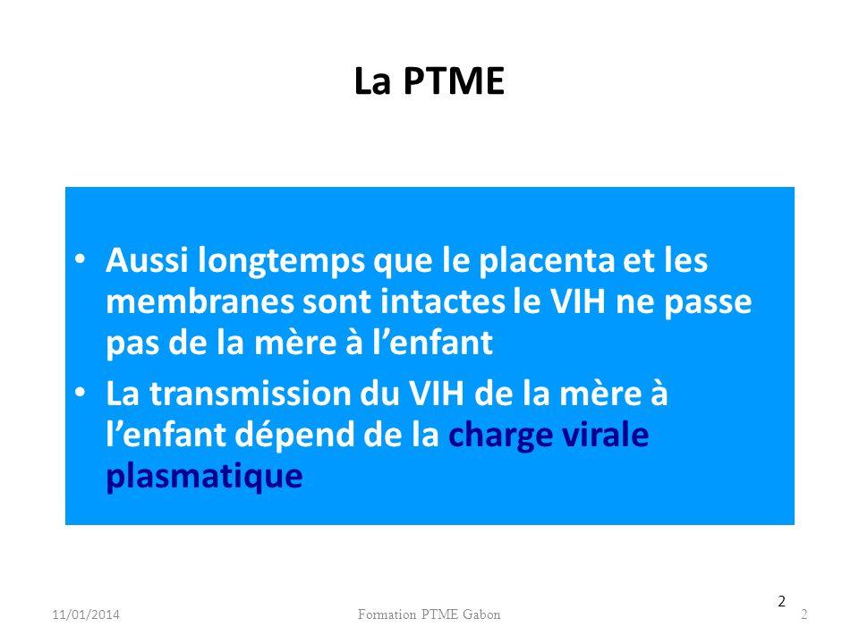 La PTME Aussi longtemps que le placenta et les membranes sont intactes le VIH ne passe pas de la mère à l'enfant.