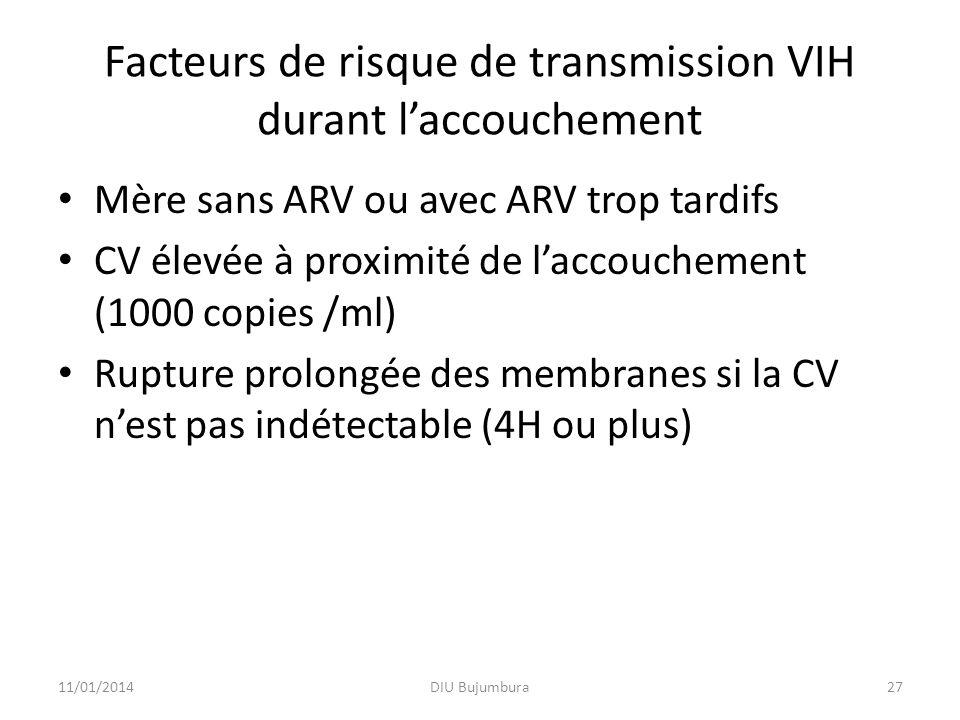 Facteurs de risque de transmission VIH durant l'accouchement