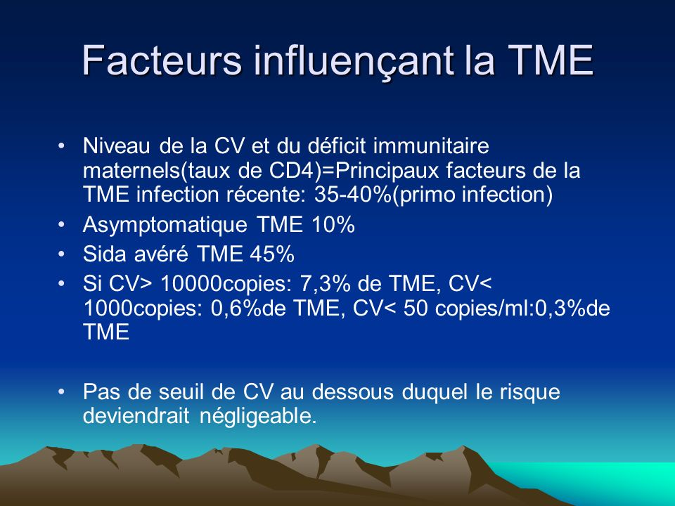 Facteurs influençant la TME