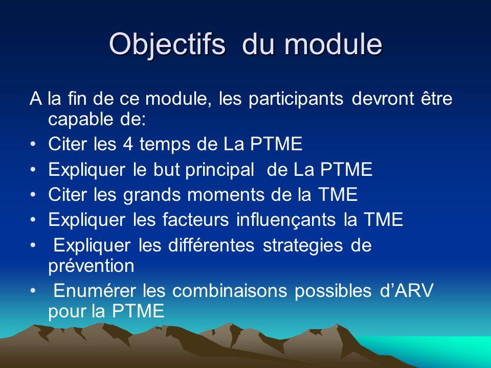 Objectifs du moduleA la fin de ce module, les participants devront être capable de: Citer les 4 temps de La PTME.