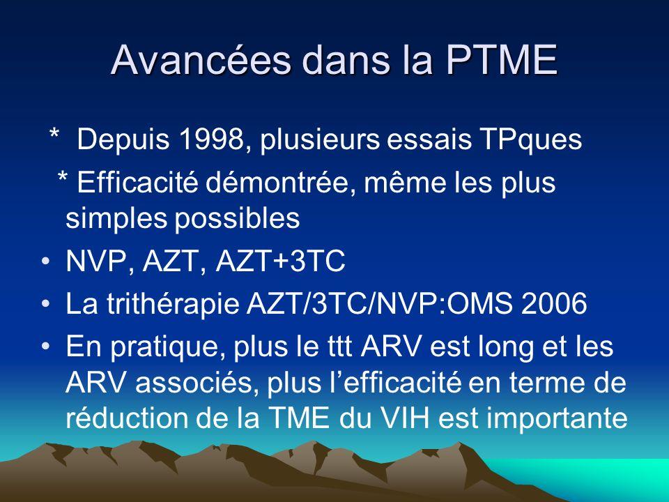 Avancées dans la PTME * Depuis 1998, plusieurs essais TPques