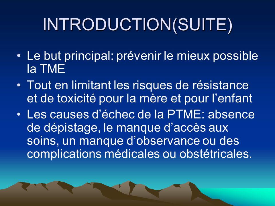 INTRODUCTION(SUITE)Le but principal: prévenir le mieux possible la TME.