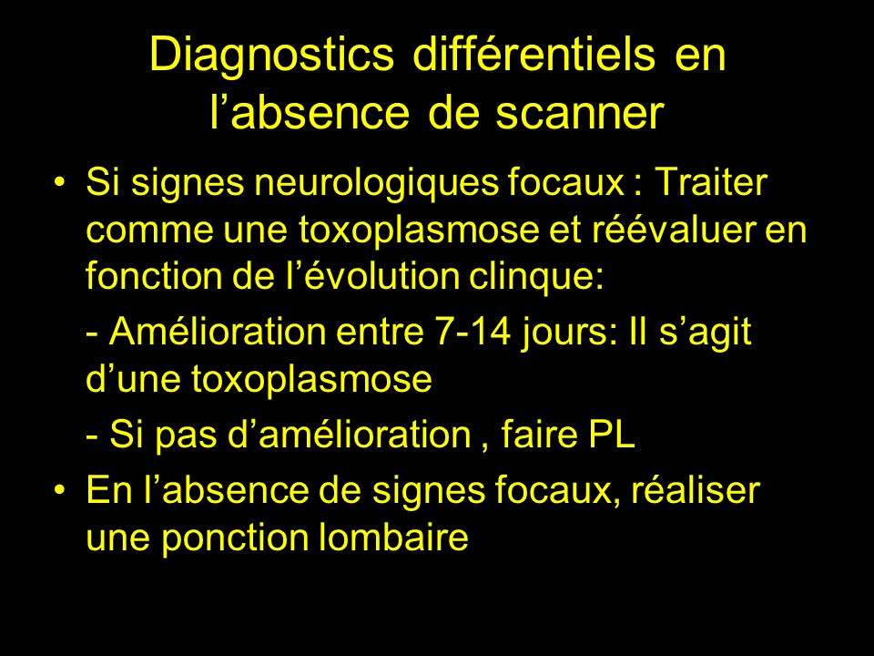 Diagnostics différentiels en l'absence de scanner