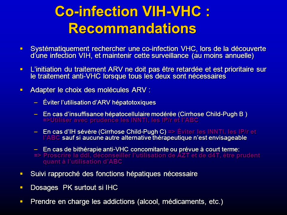Co-infection VIH-VHC : Recommandations