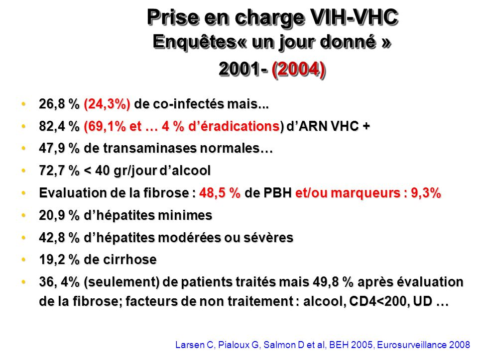 Prise en charge VIH-VHC Enquêtes« un jour donné » 2001- (2004)