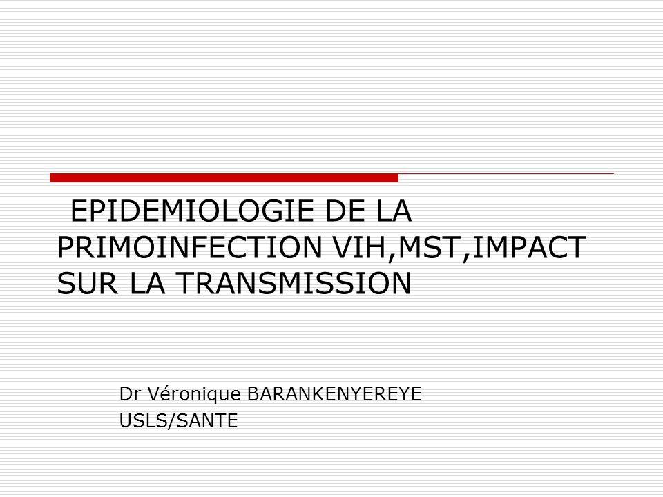 EPIDEMIOLOGIE DE LA PRIMOINFECTION VIH,MST,IMPACT SUR LA TRANSMISSION