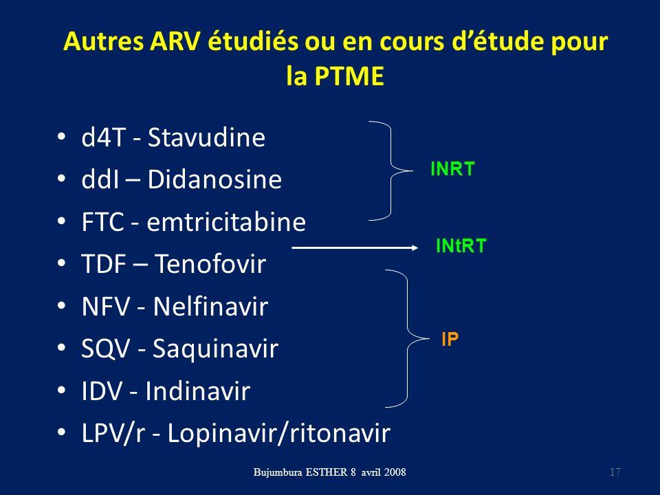 Autres ARV étudiés ou en cours d'étude pour la PTME