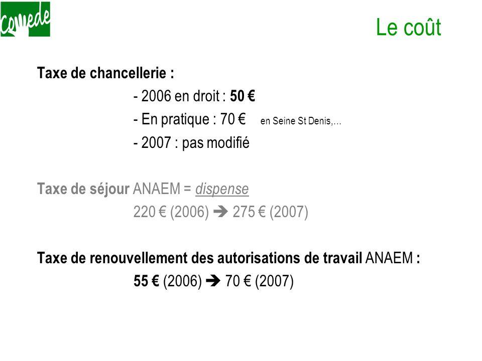 Le coût Taxe de chancellerie : - 2006 en droit : 50 €