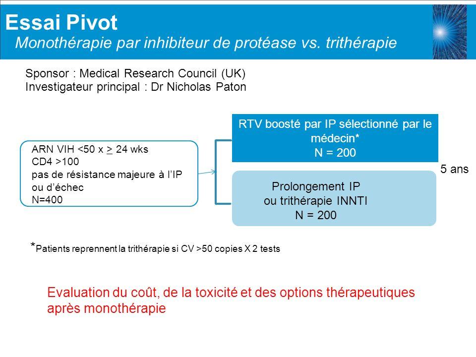 Essai Pivot Monothérapie par inhibiteur de protéase vs. trithérapie