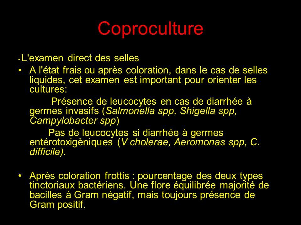 Coproculture - L examen direct des selles.