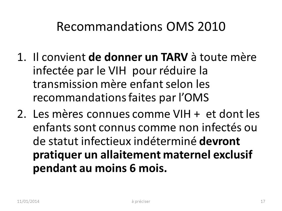 Recommandations OMS 2010