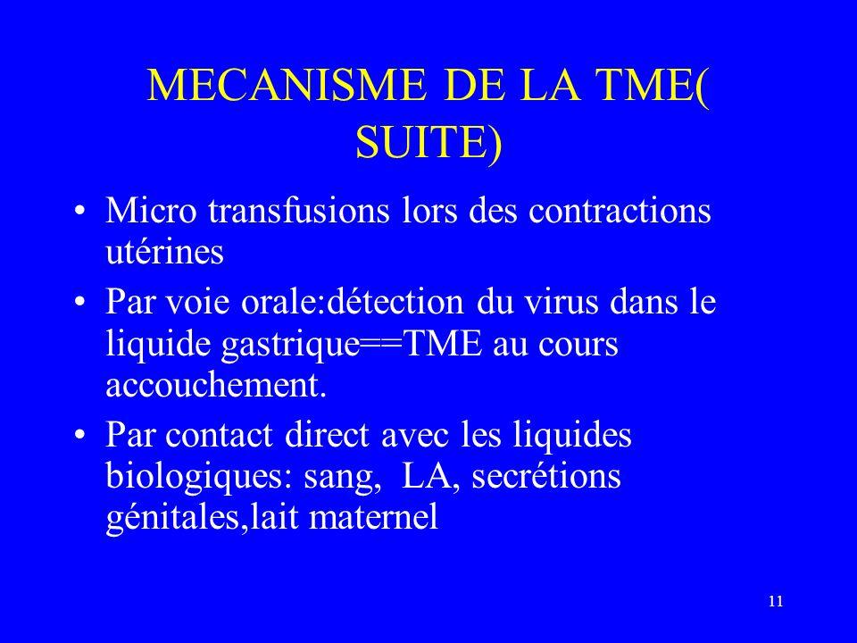 MECANISME DE LA TME( SUITE)