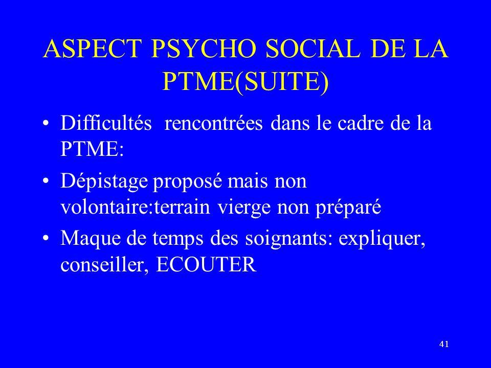 ASPECT PSYCHO SOCIAL DE LA PTME(SUITE)