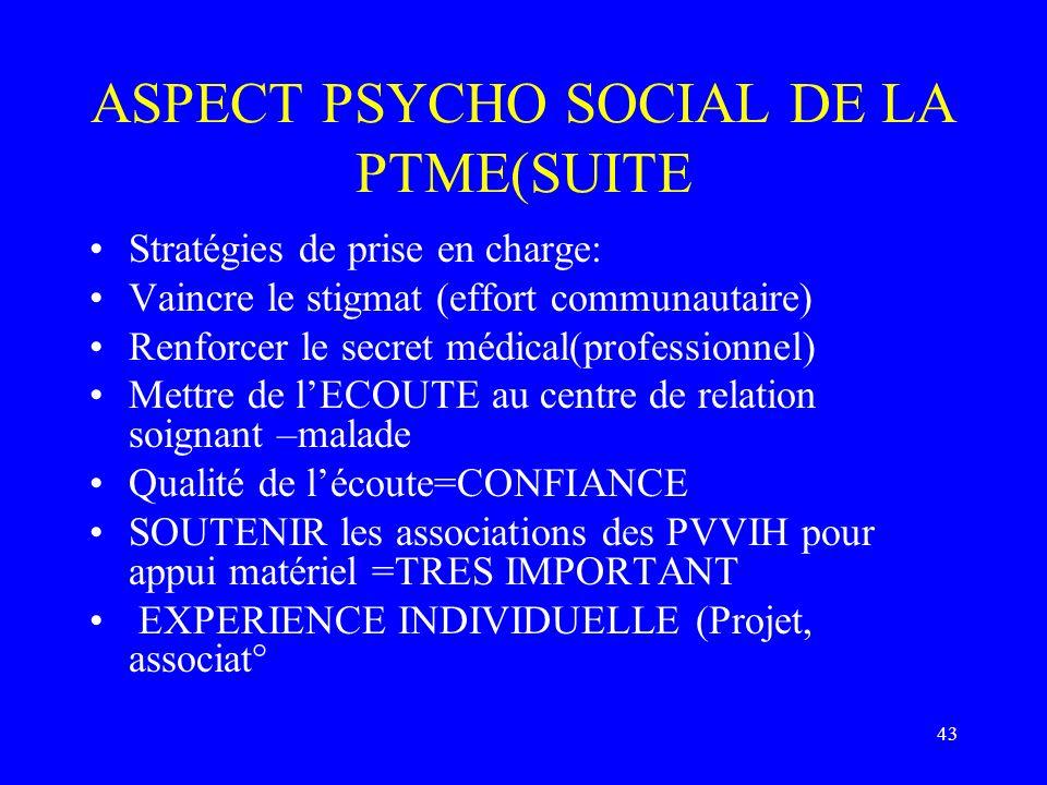 ASPECT PSYCHO SOCIAL DE LA PTME(SUITE