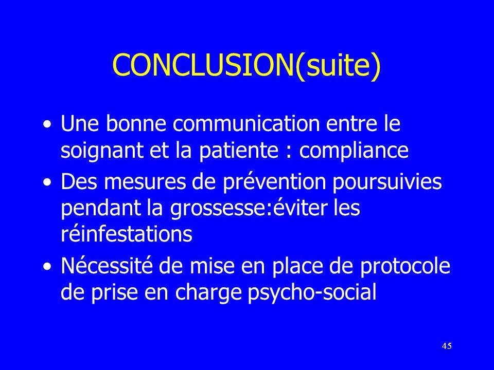 CONCLUSION(suite) Une bonne communication entre le soignant et la patiente : compliance.