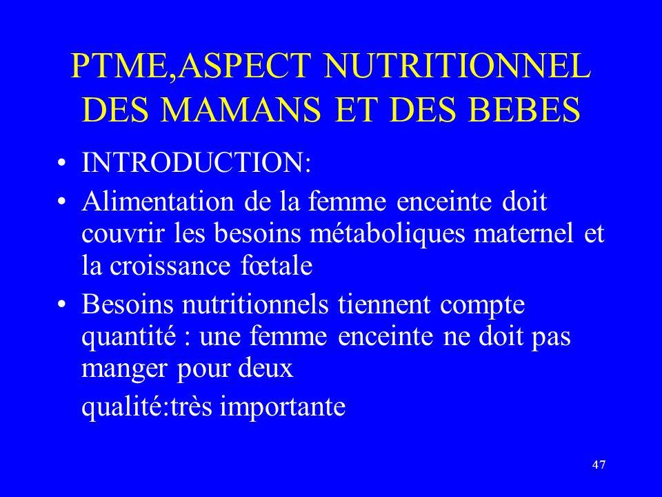 PTME,ASPECT NUTRITIONNEL DES MAMANS ET DES BEBES