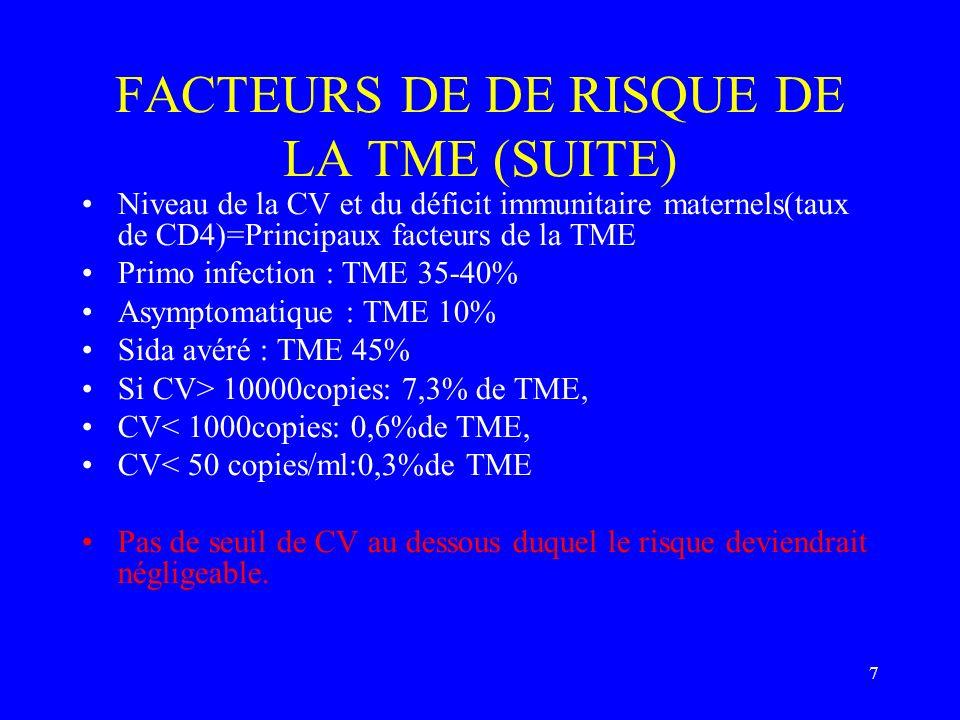 FACTEURS DE DE RISQUE DE LA TME (SUITE)
