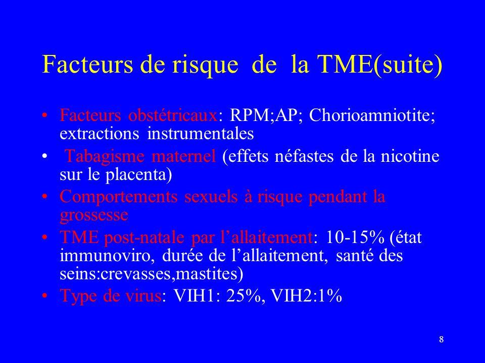 Facteurs de risque de la TME(suite)