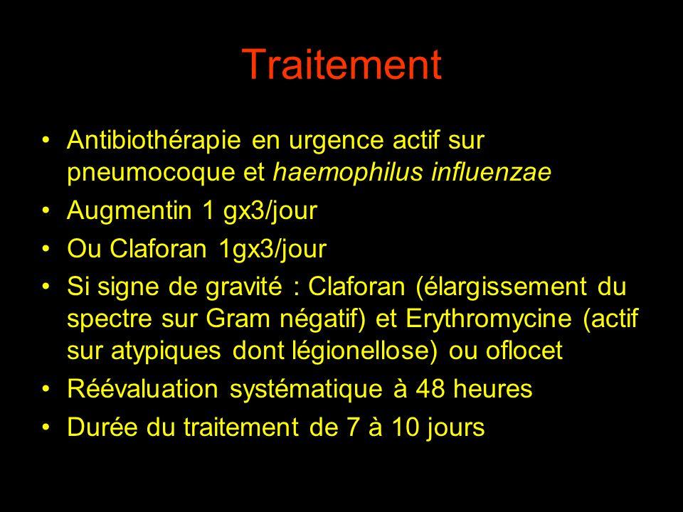 Traitement Antibiothérapie en urgence actif sur pneumocoque et haemophilus influenzae. Augmentin 1 gx3/jour.