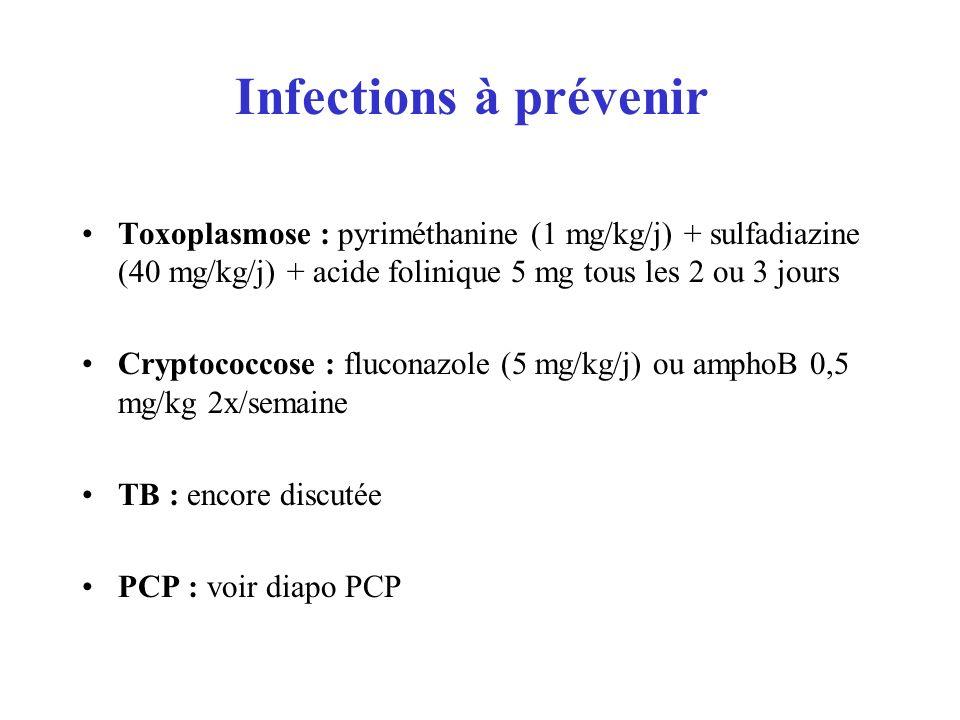 Infections à prévenir Toxoplasmose : pyriméthanine (1 mg/kg/j) + sulfadiazine (40 mg/kg/j) + acide folinique 5 mg tous les 2 ou 3 jours.