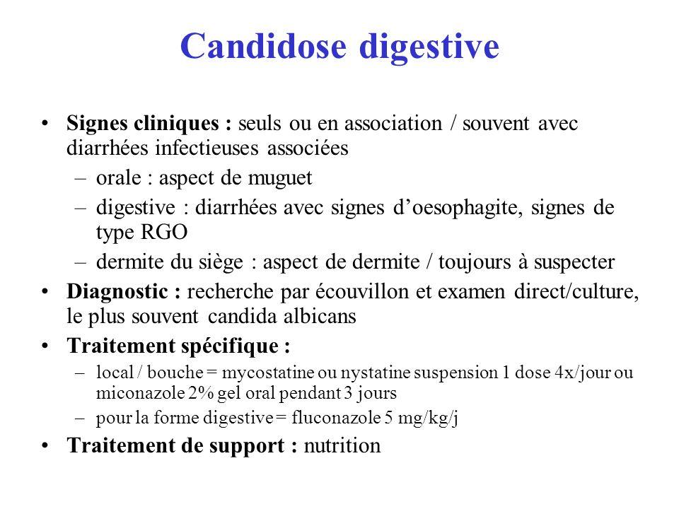 Candidose digestive Signes cliniques : seuls ou en association / souvent avec diarrhées infectieuses associées.