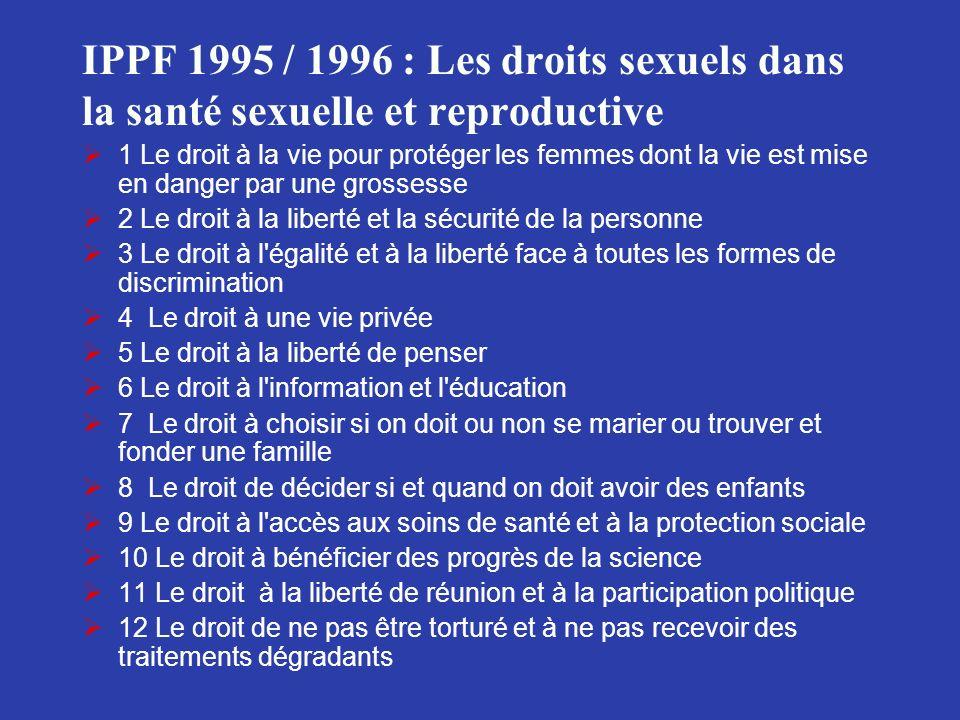 IPPF 1995 / 1996 : Les droits sexuels dans la santé sexuelle et reproductive