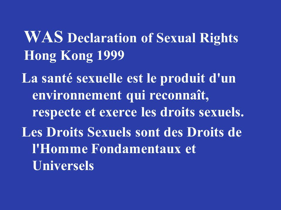 WAS Declaration of Sexual Rights Hong Kong 1999