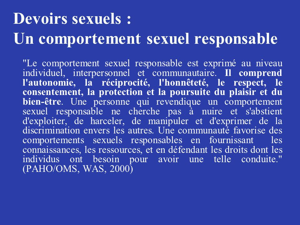 Devoirs sexuels : Un comportement sexuel responsable