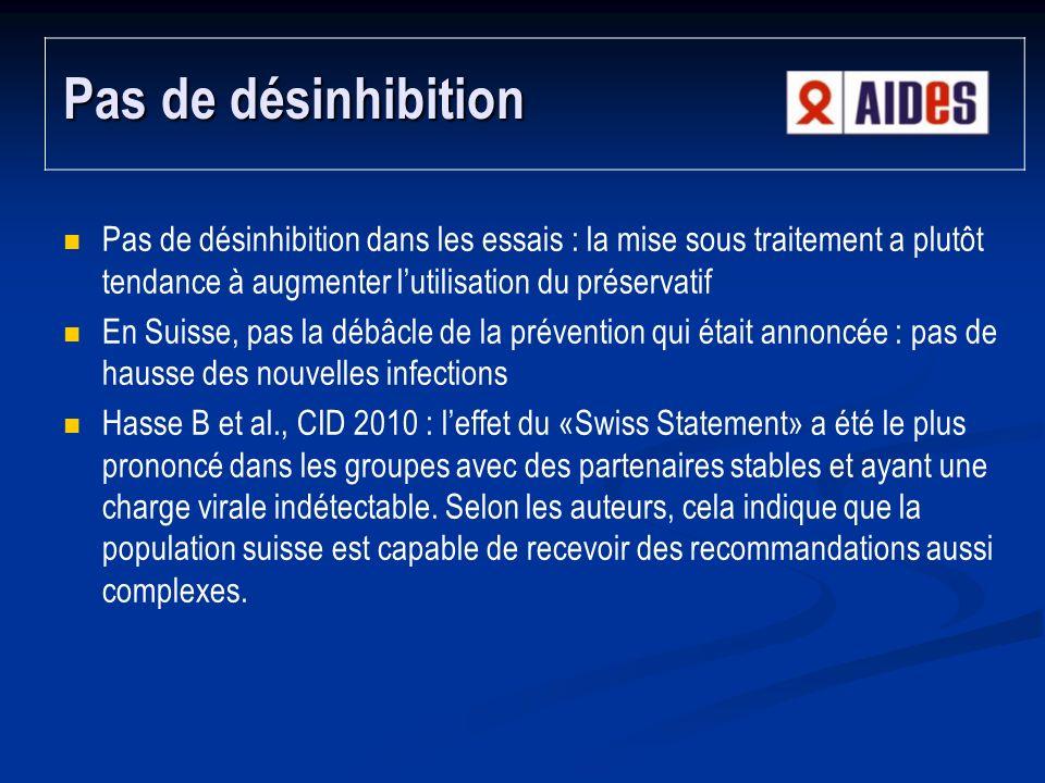 Pas de désinhibition Pas de désinhibition dans les essais : la mise sous traitement a plutôt tendance à augmenter l'utilisation du préservatif.