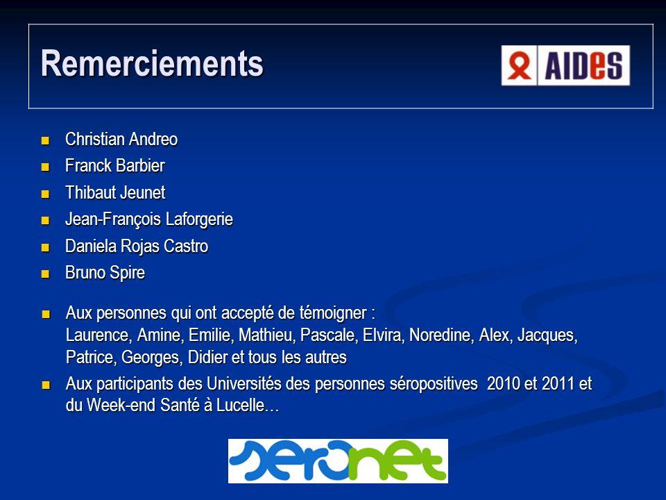 Remerciements Christian Andreo Franck Barbier Thibaut Jeunet