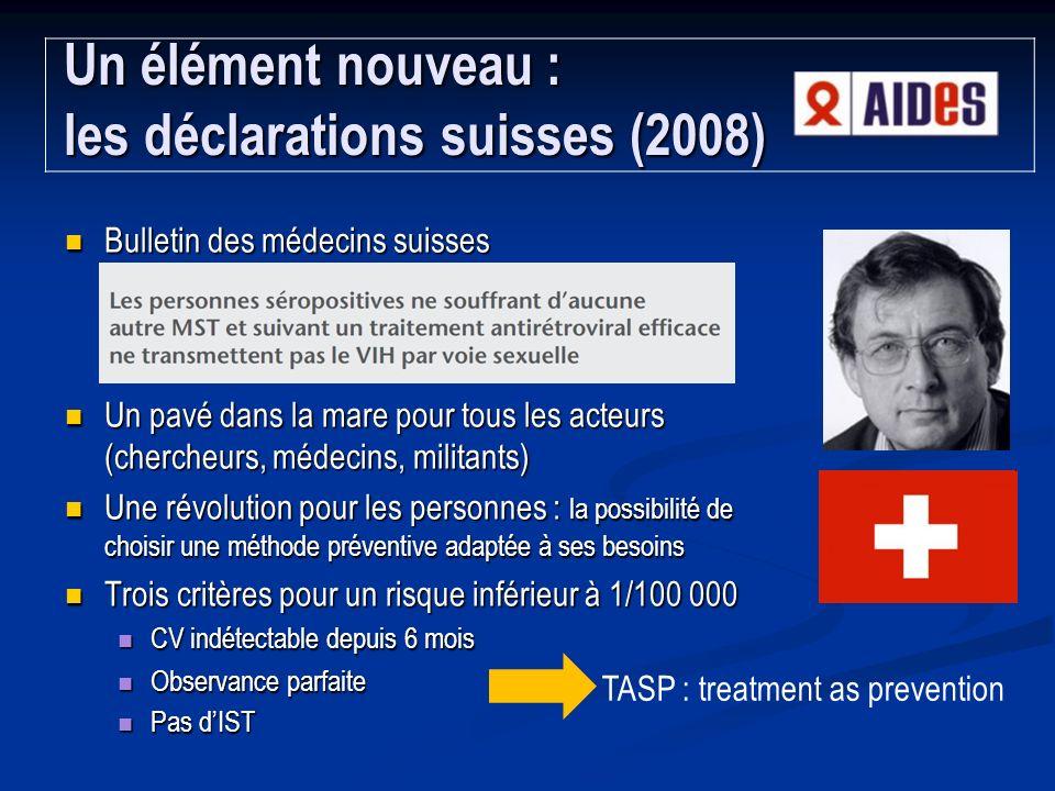 Un élément nouveau : les déclarations suisses (2008)