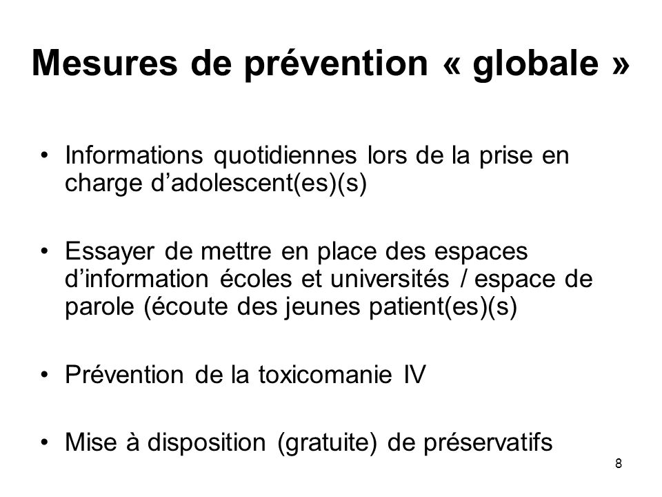 Mesures de prévention « globale »