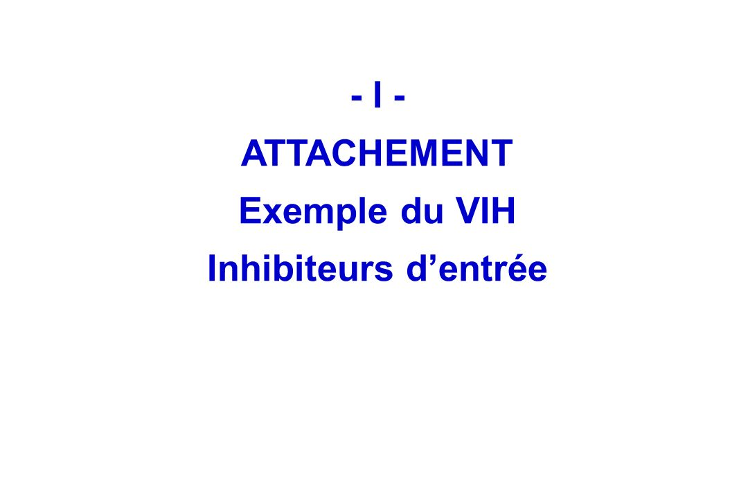 - I - ATTACHEMENT Exemple du VIH Inhibiteurs d'entrée