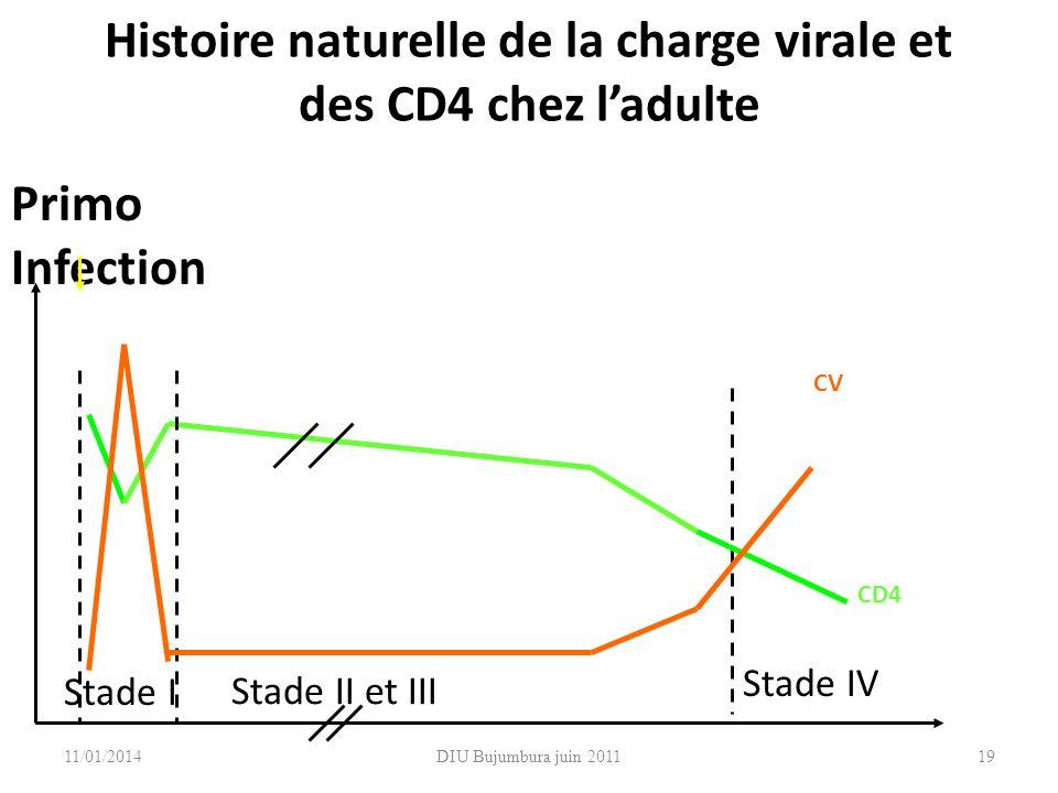 Histoire naturelle de la charge virale et des CD4 chez l'adulte