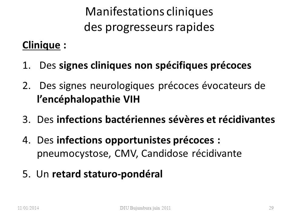 Manifestations cliniques des progresseurs rapides