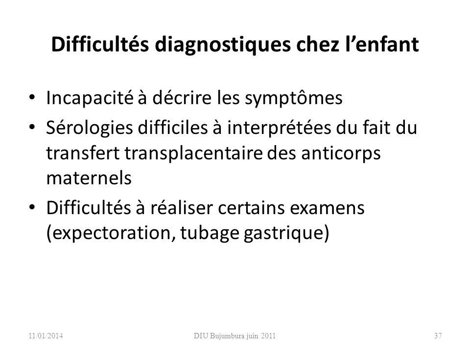 Difficultés diagnostiques chez l'enfant