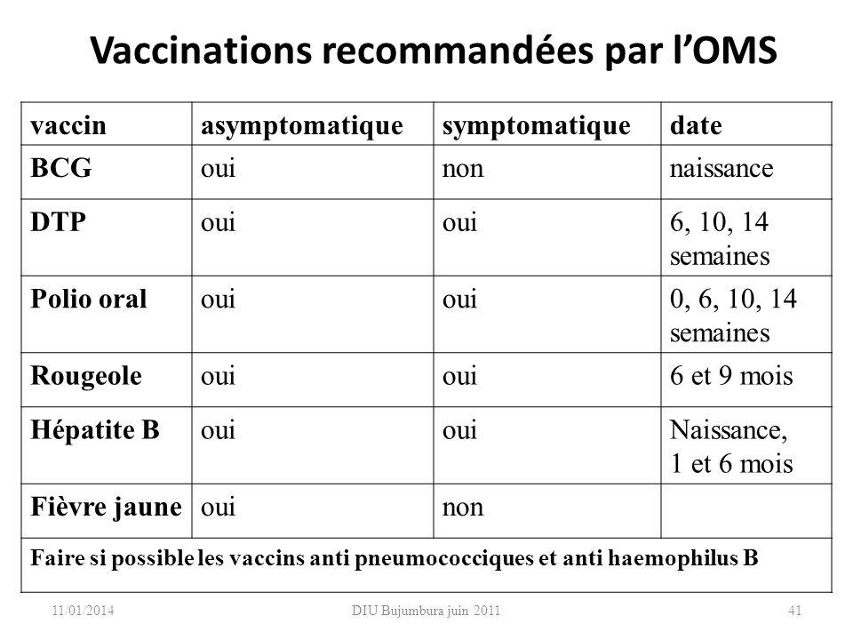 Vaccinations recommandées par l'OMS